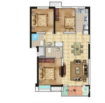 城南大学城经典三房设计洋房社区黄河国际小学-室内图-1