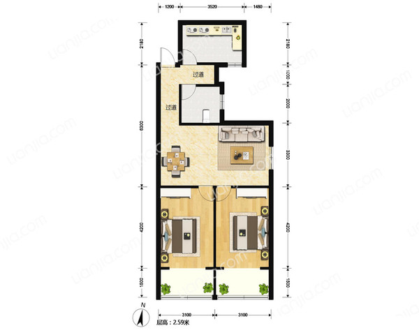 百乐公寓 高尚宁静独具特色 自然资源 拎包入住-室内图-1