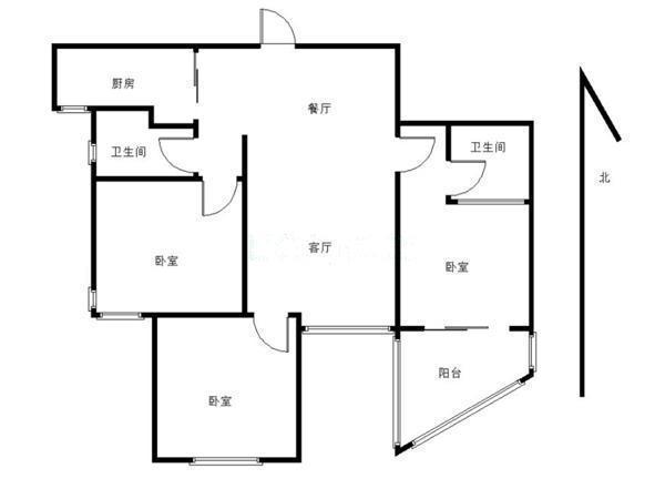 枫华府第电梯房三房朝南厅朝南厨朝南厨卫明户型呱呱叫-室内图-1