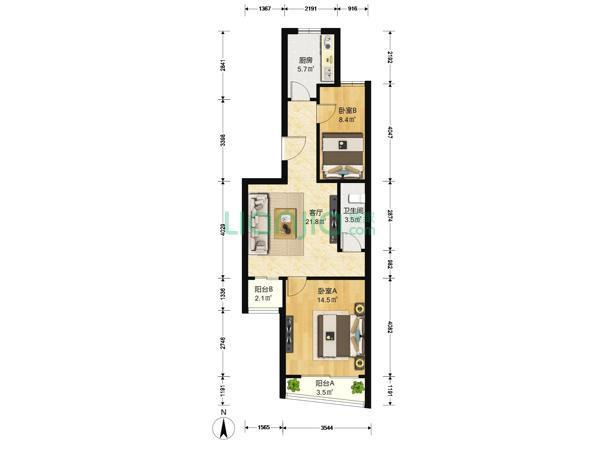 为你而选为你为家 成和园 2室1厅 69平-室内图-1