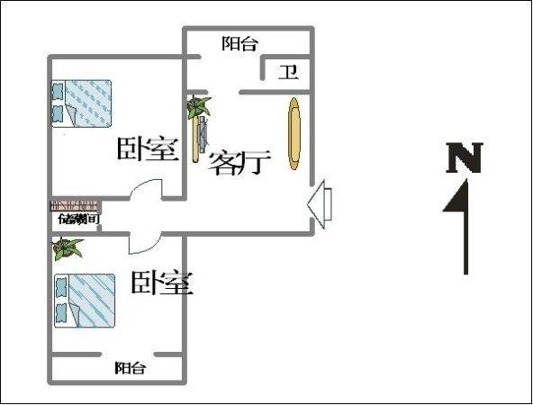 精装双气2房 新浩城 楼层带露台 送车位39-室内图-1