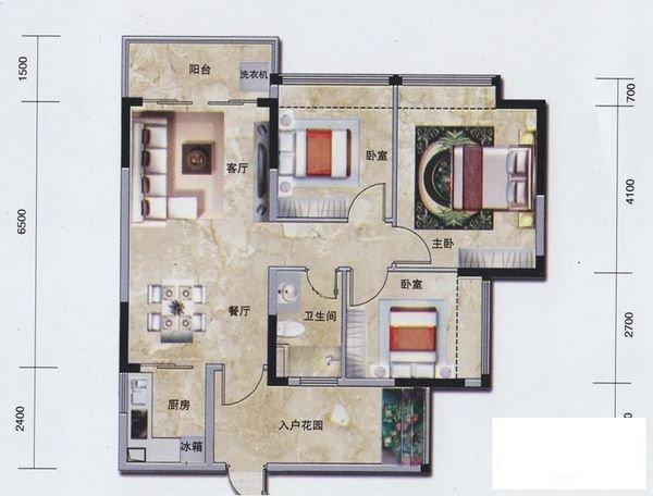 锦尚蓬莱地铁口万科物业 南向户型 小区环境优美-室内图-1