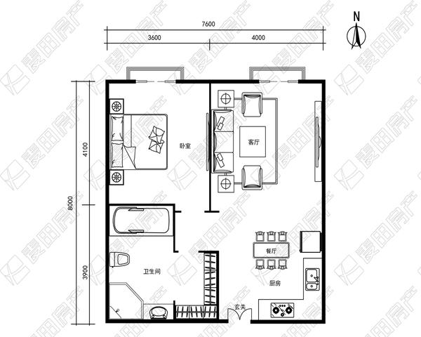 东城区 二环 瑞士公寓  水系园区 北向一居室 保养良好 看-室内图-1