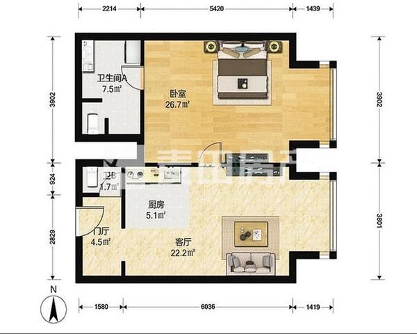 工人体育馆  东城工体三号 东向正规一居室 户型方正  保养-室内图-1