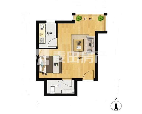 蓝筹名座 东二环  东北向开间  户型房子 浪费面积小 看房-室内图-1