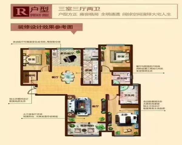 长安区高档社区奥北公元三室四室 现房 户型通透-室内图-3