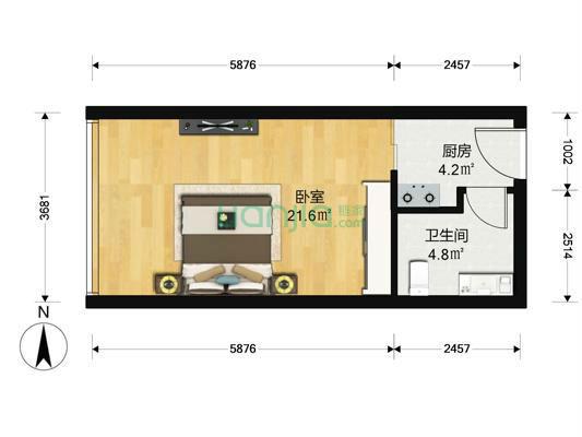 嘉业国际城1室1厅220万元  换房急售  精装-室内图-1