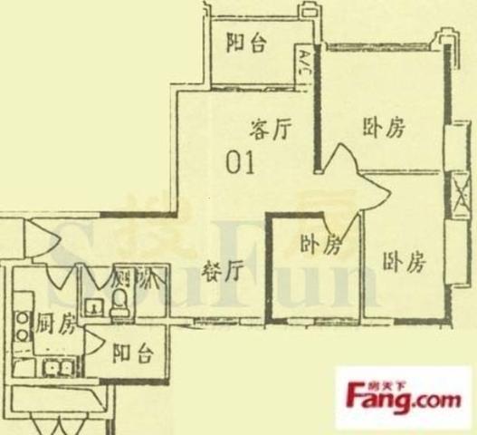 马赛国际 4栋01单位 东南向三房 业主是朋友  刚需三房-室内图-1