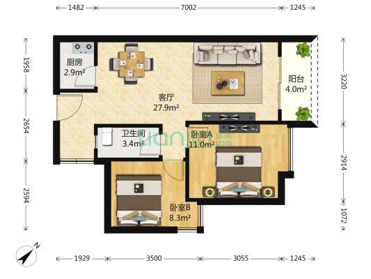 南联地铁口 摩尔城后面 创富时代精装2房业主诚意卖-室内图-1