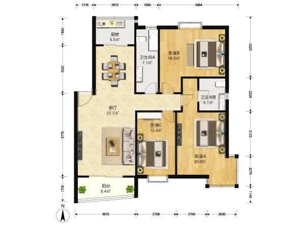 南站商圈 岔路口 天地新城 大三房 楼层好 采光好 明户型-室内图-1